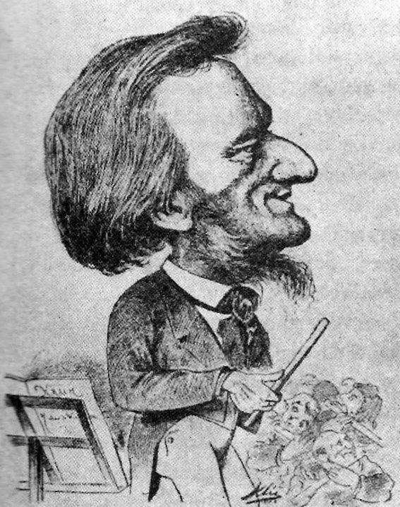 Caricatura de Wagner de Karl Clic en la revista satírica vienesa Humoristische Blätter (1873). Las facciones exageradas del compositor aluden a los rumores de que tenía antepasados judíos.