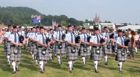 Western Australia Police Pipe Band at Bridge of Allan Highland Games, Scotland