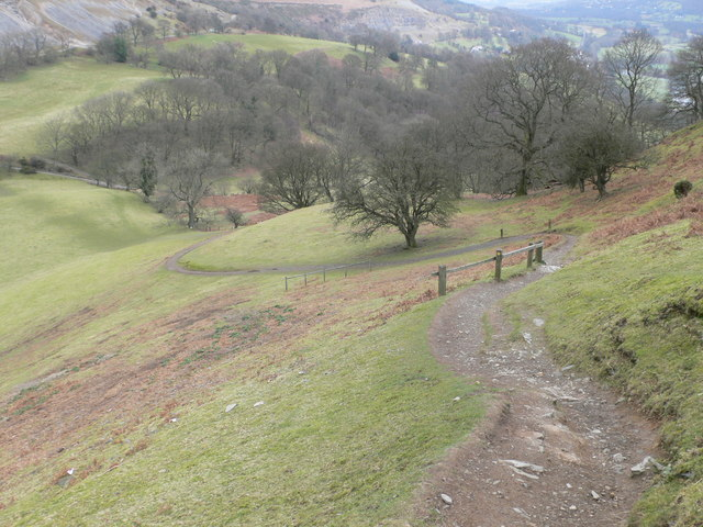 Zigzag footpath on the eastern side of Castell Dinas Brân - geograph.org.uk - 703062