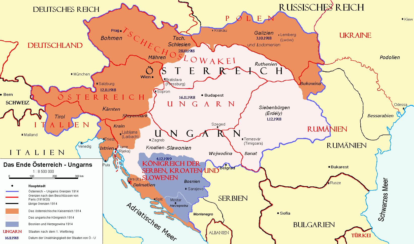 Karte der territorialen Aufteilung Österreich-Ungarns nach den Pariser Vorortverträgen