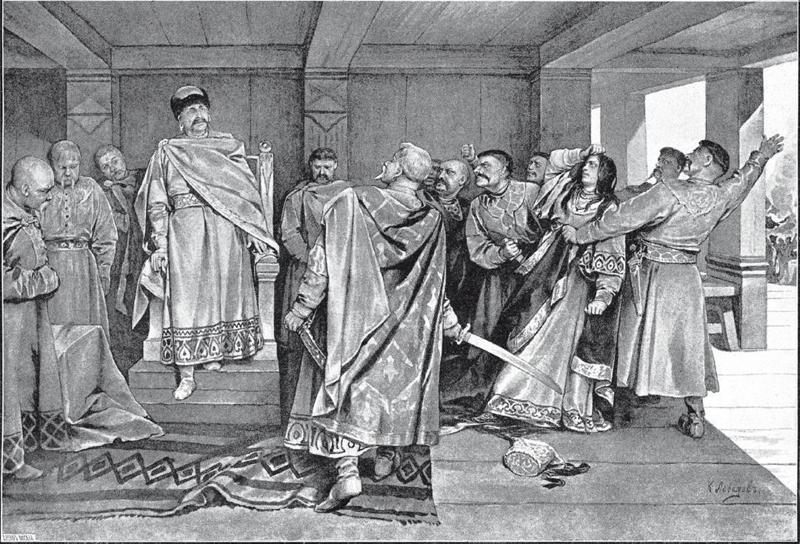 Галицкие бояре тащат на костёр попадью-колдунью, любимицу князя Ярослава Осмомысла. Картина Клавдия Лебедева