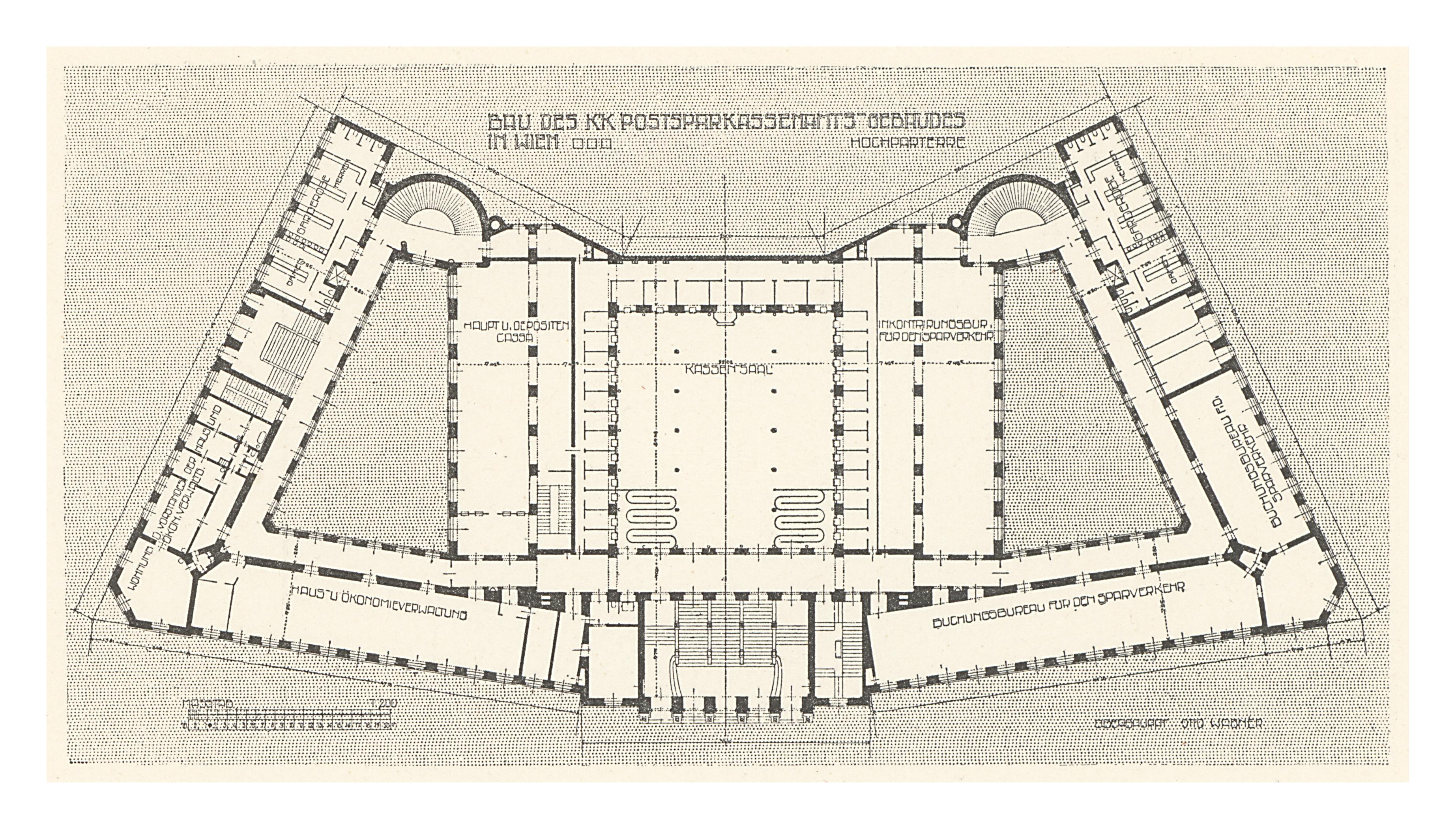 Floor Plan Drawing Free File 02 Postsparkassen Amtsgeb 228 Ude Wien Wagner Band 5 6