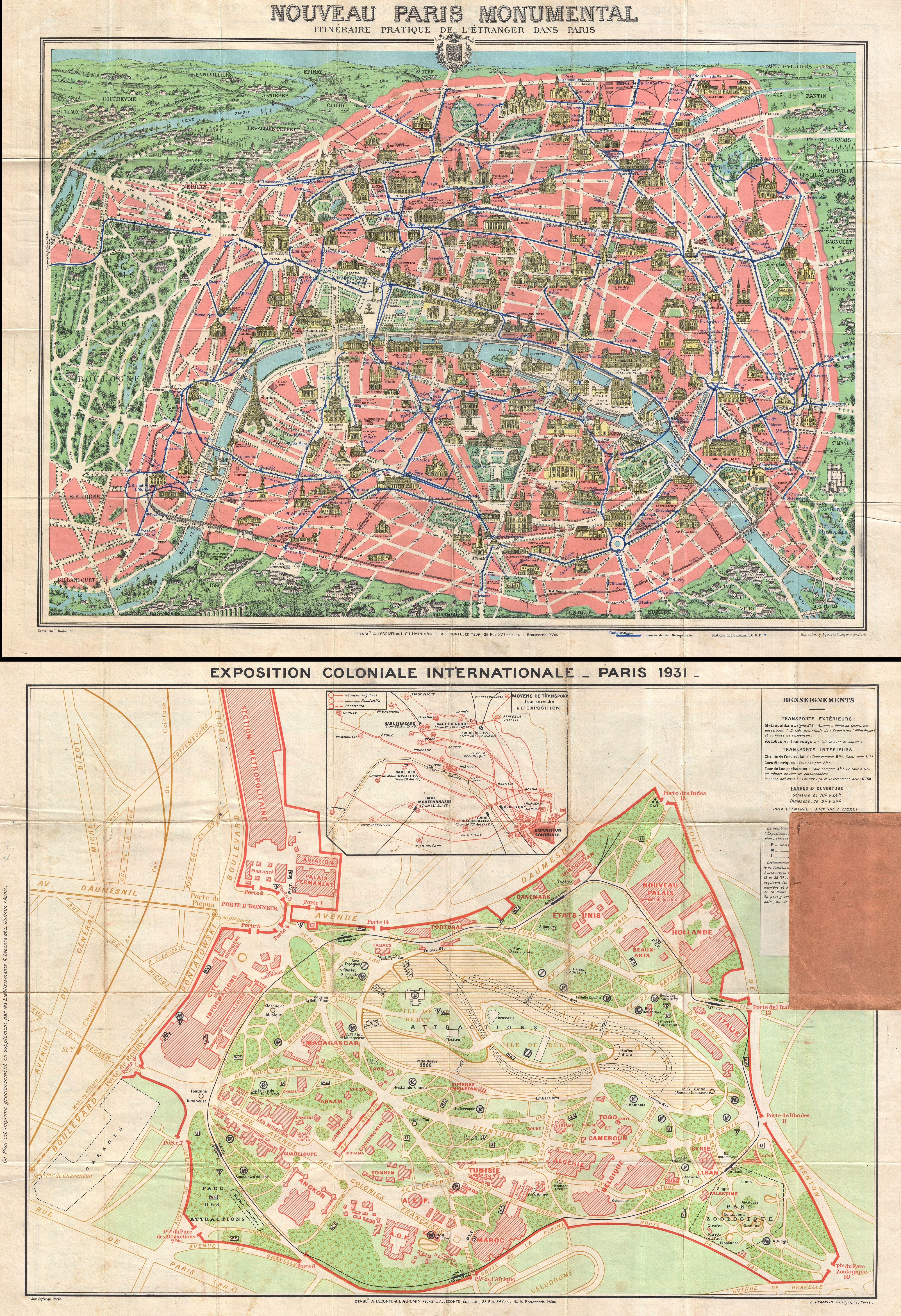 file1931 leconte map of paris w monuments and map of the exposition coloniale