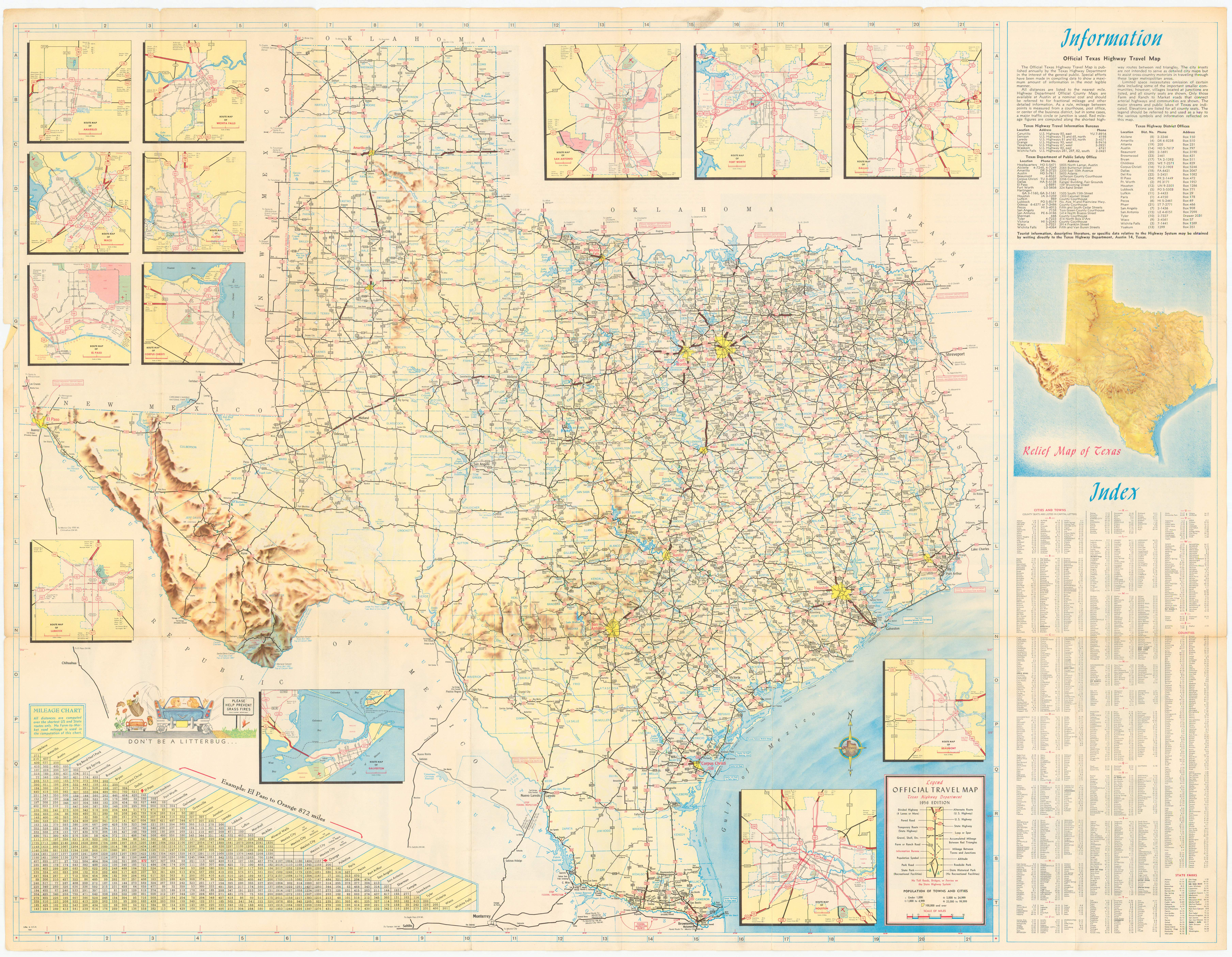 File1956 Official Texas Highway Map smallpng Wikimedia Commons – Texas Official Travel Map