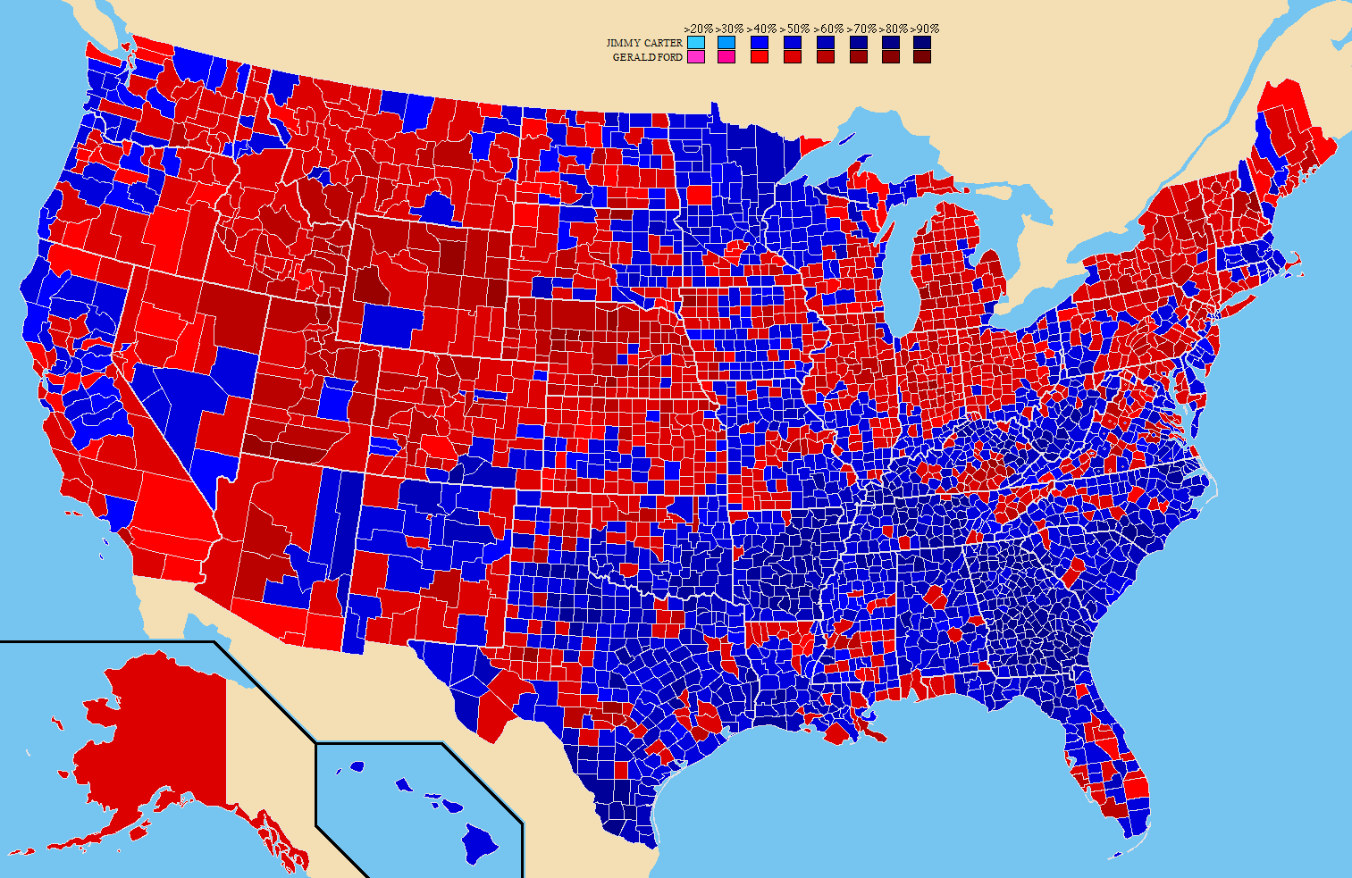1980 United States presidential election, Result by County [1513×983 ...