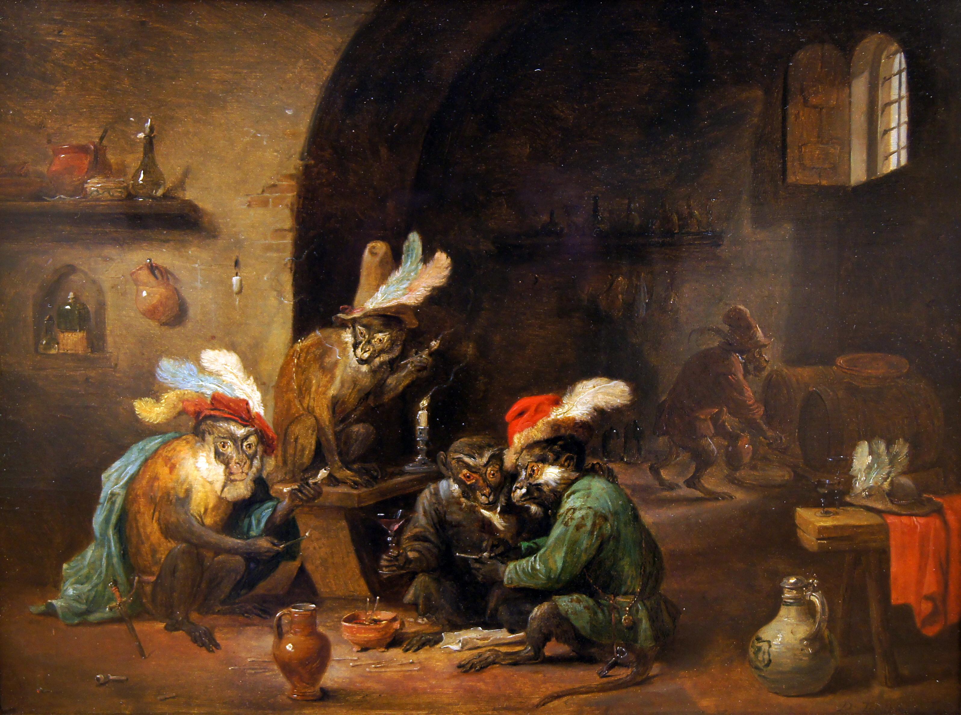 Картинки по запросу david teniers monkeys in the kitchen