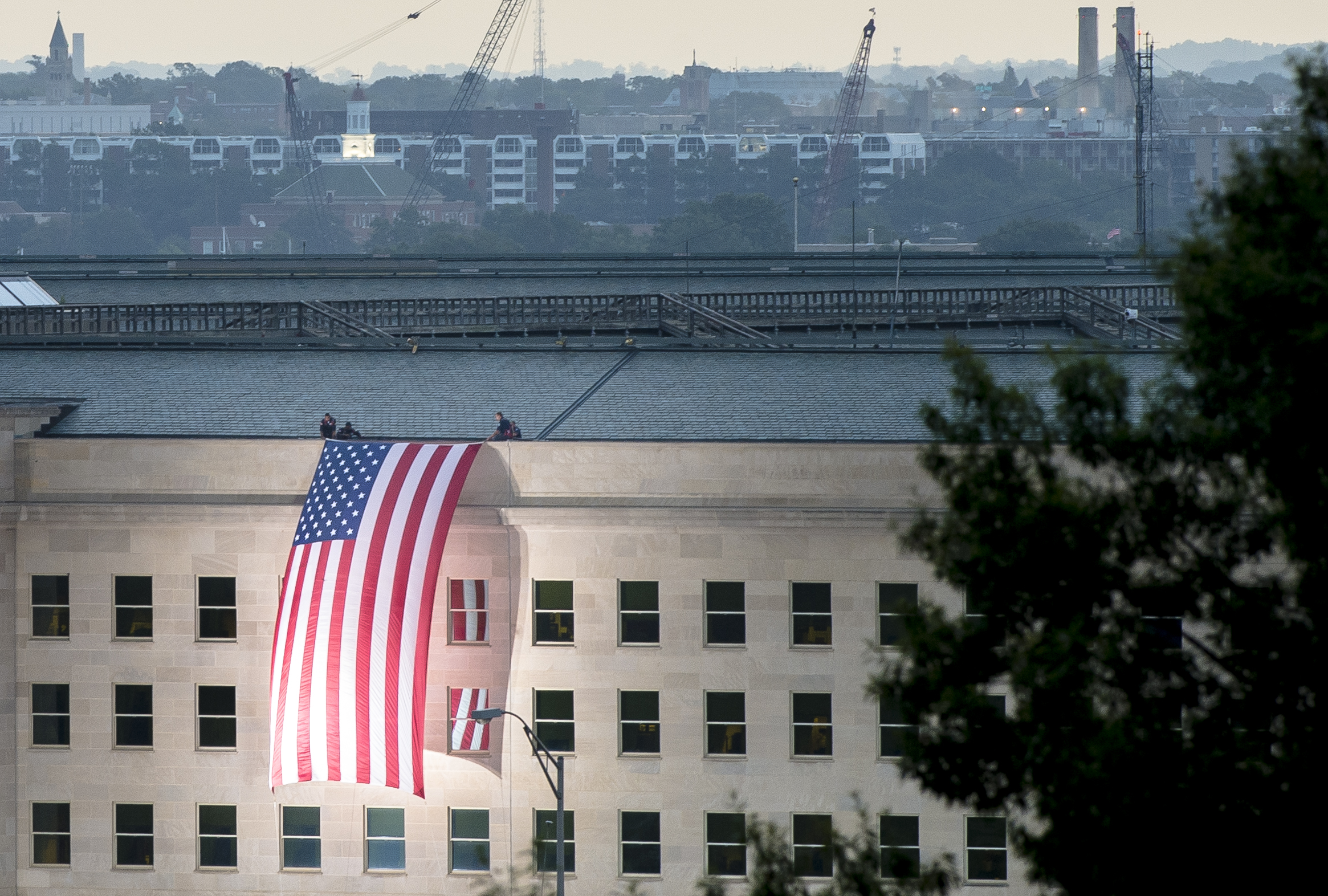 U.S. flag over the side of the Pentagon