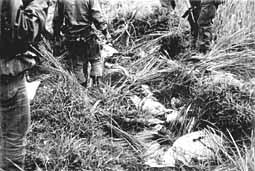 Abandoned children bodies in ditch. U.S Army and South Vietnamese Army were searching for other abandoned bodies. Abandoned children bodies of Phong Nhi massacre.jpg