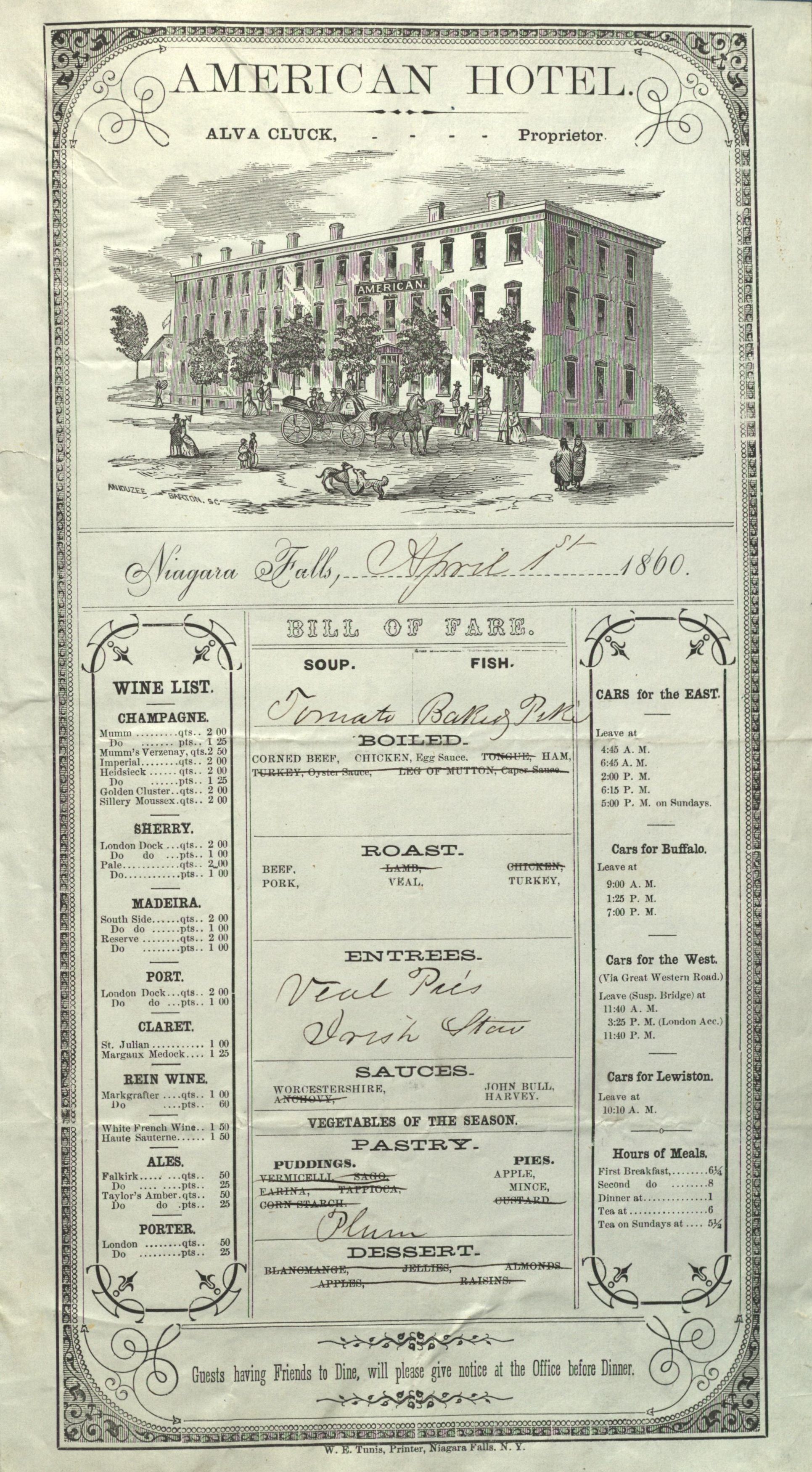 File American Hotel Restaurant Menu April 1 1860 Jpg