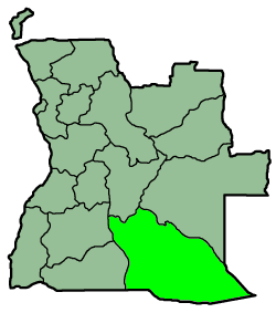 Map of Angola's provinces, with Cuando Cubango province highlighted. Angola Provinces Cuando Cubango 250px.png