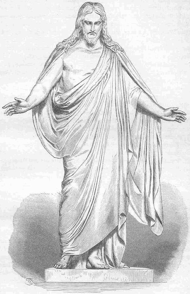"""Dessin du """"Jésus"""" de Thorvaldsens, la statue est exposé dans la cathédrale de Copenhague."""