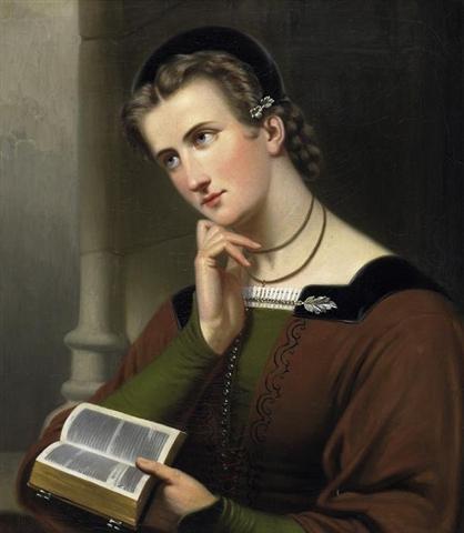 Braet von Überfeldt woman with bible 1866