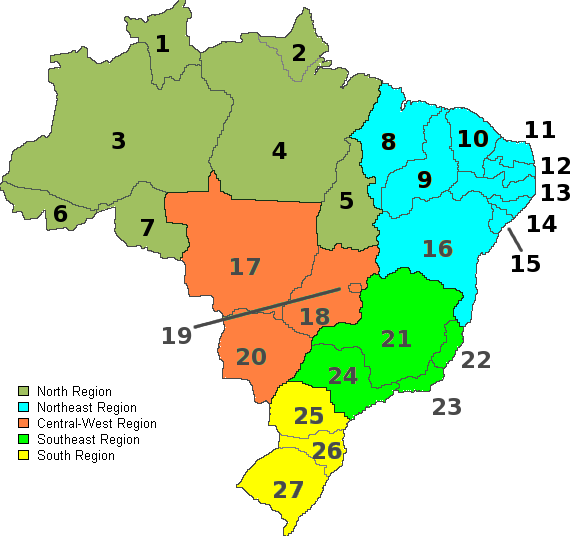 FileBrazil Map States With Numbers And RegionsPNG Wikimedia - Brazil states map