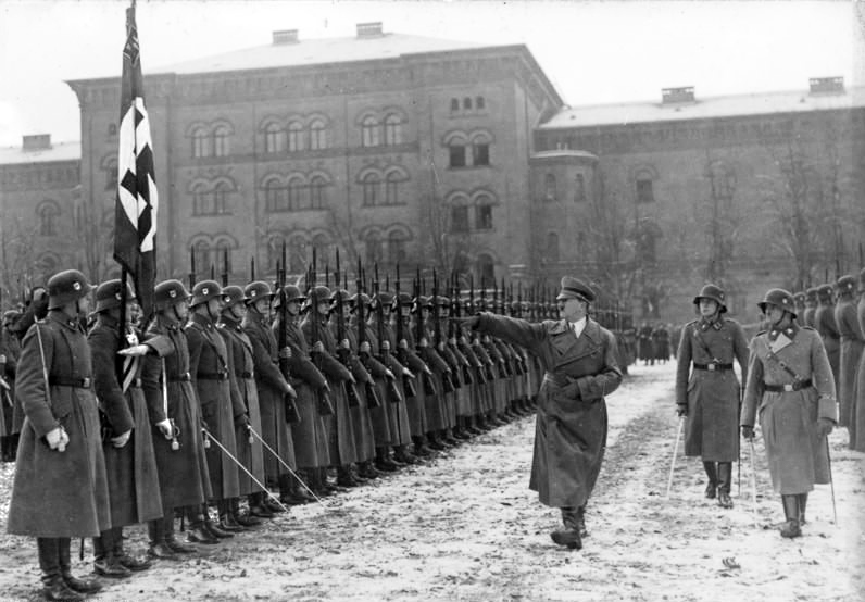 Hitler inspecting his Leibstandarte at its barracks