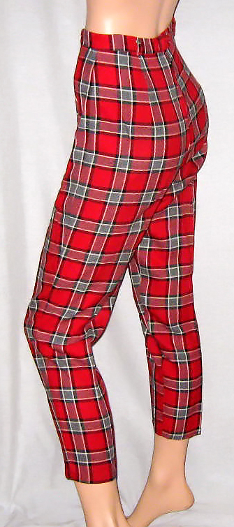 red and gray plaid capris modeled by a store dummy