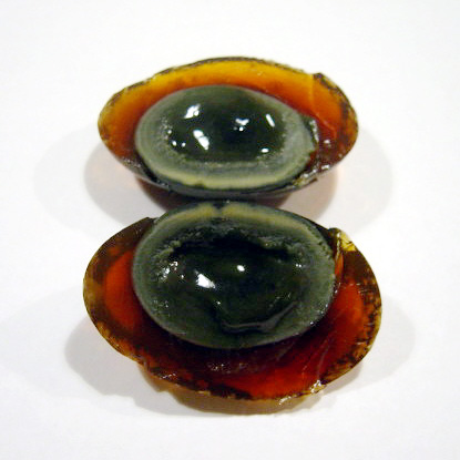Century egg sliced open.