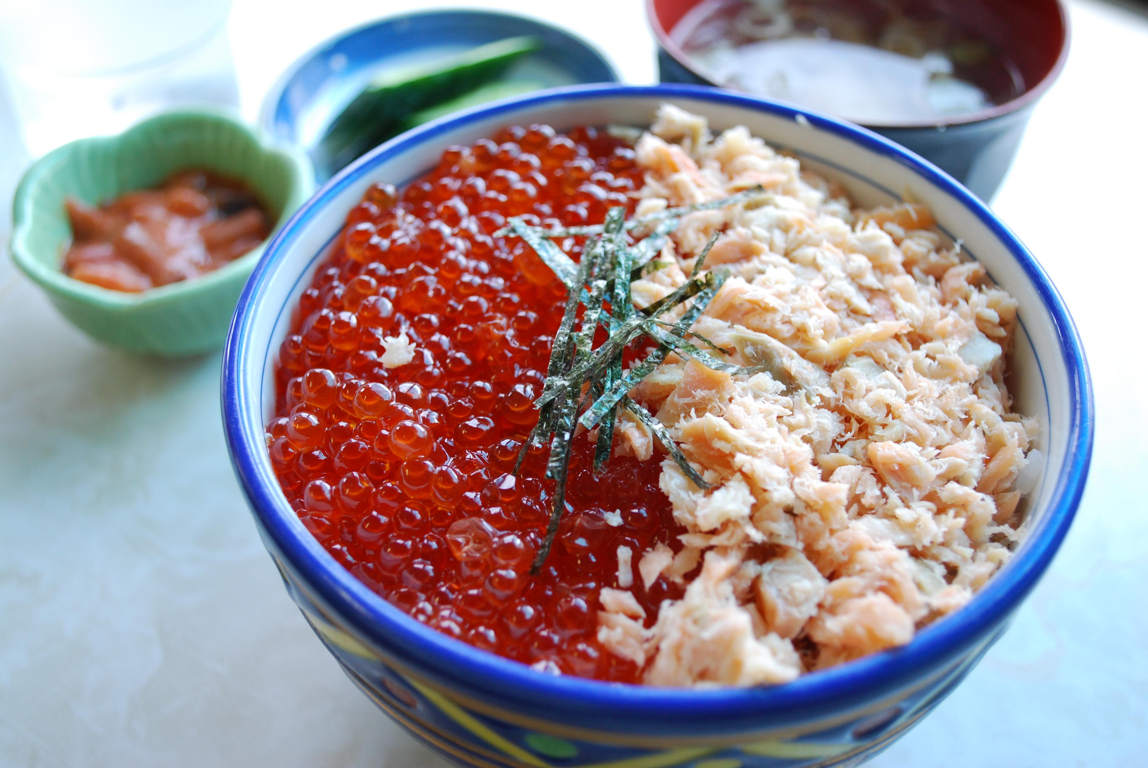 ファイル chum salmon sake ikura don syari town japan jpg wikipedia