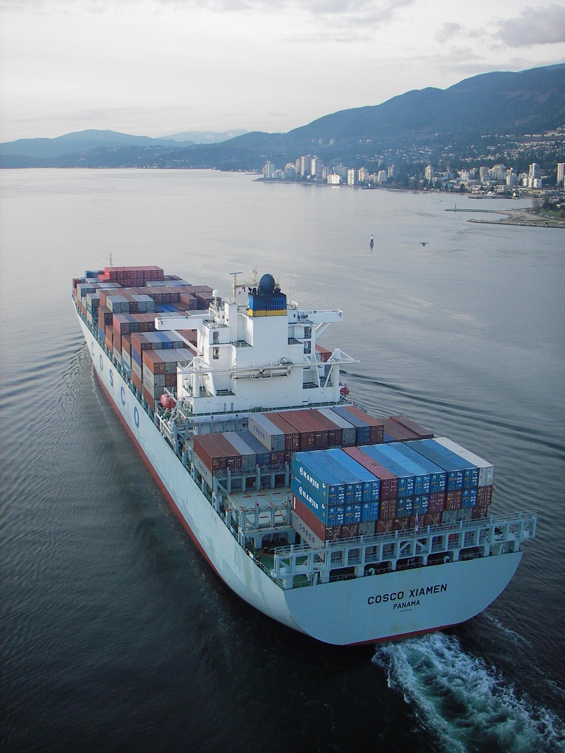 Containership Cosco Xiamen exiting Burrard Inlet (Vancouver's harbour)