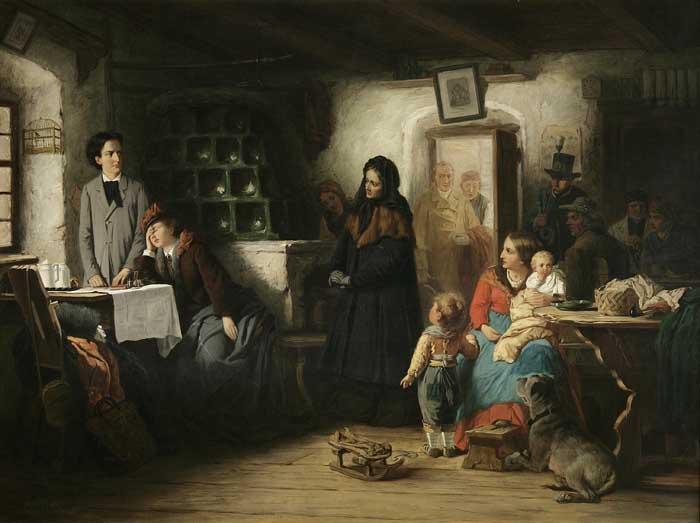 Eduard Kurzbauer Die ereilten Flüchtlinge Gemälde