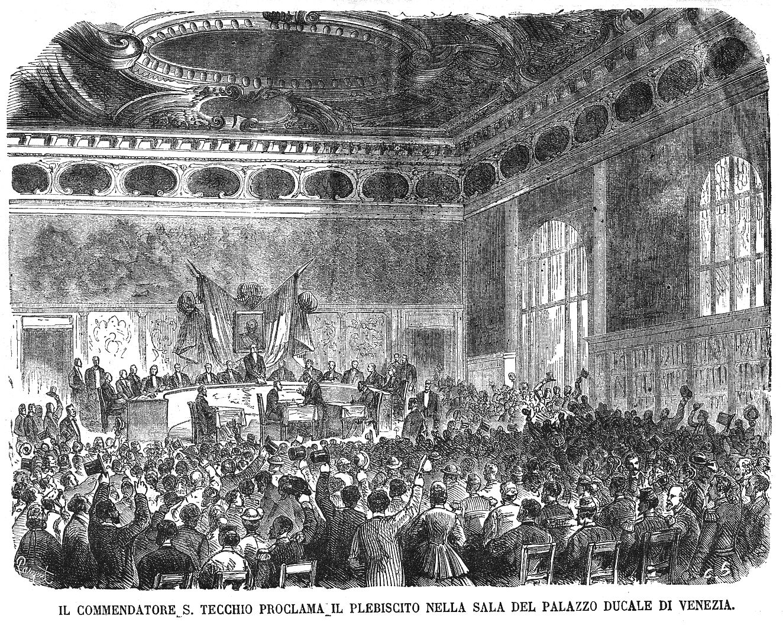 Proclamazione dei risultati del plebiscito a palazzo ducale Venezia