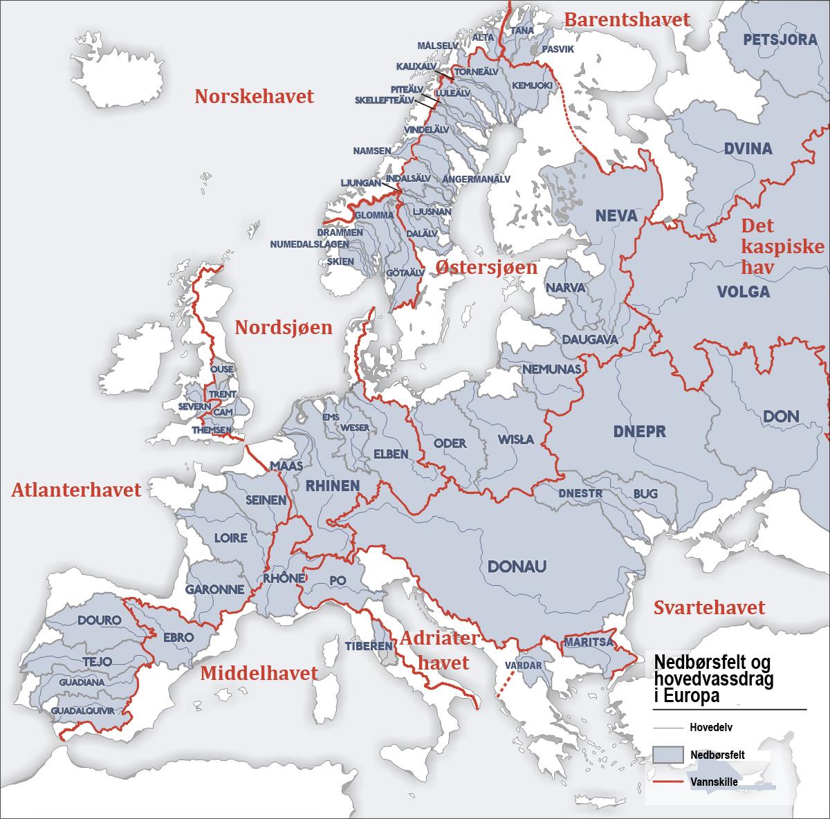 elver i europa kart File:Europäische Wasserscheiden NO.   Wikimedia Commons elver i europa kart