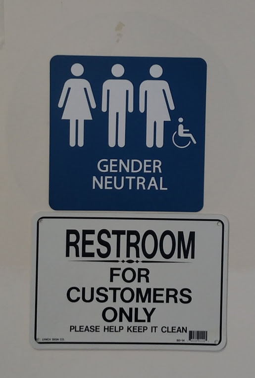 Gender Neutral Bathroom Sign - Gas Station in Playa del Rey, CA - December 2017.jpg