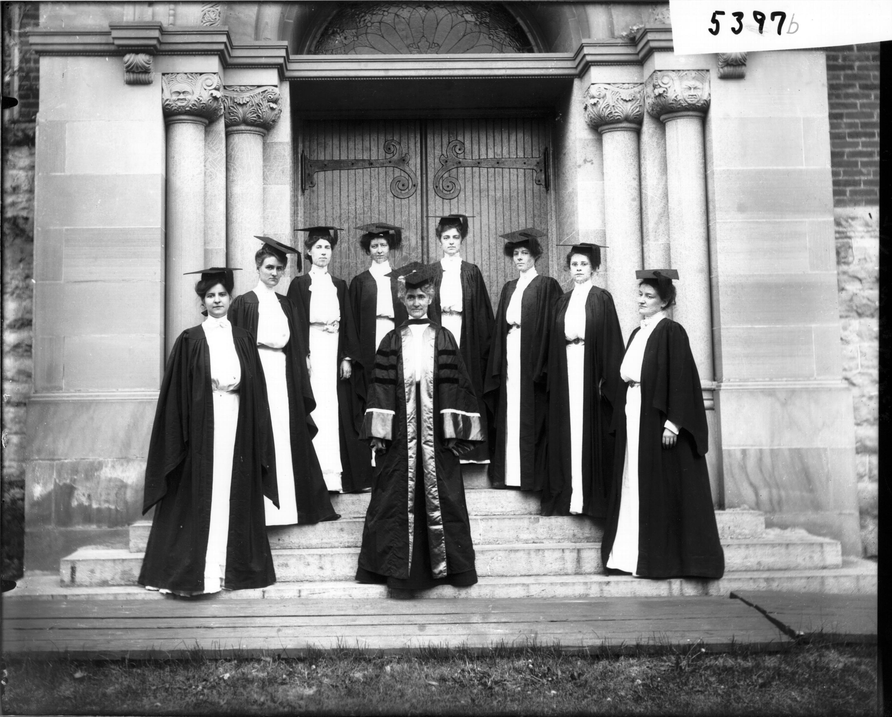 File:Group of women in cap and gown at Western College on Tree Day ...