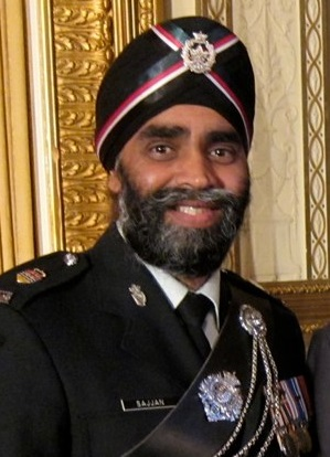 Harjit Sajjan, is an Indian Canadian politician and former Lieutenant Colonel with the Canadian Armed Forces. He is the current Minister of National Defence. Harjit Sajjan.jpg