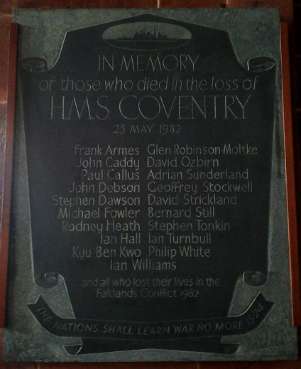 File:Holy Trinity Church Coventry - HMS Coventry Falklands 1982 Memorial.jpg