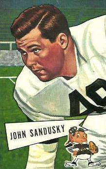 John Sandusky pictured in a Cleveland Browns uniform on a 1952 football card