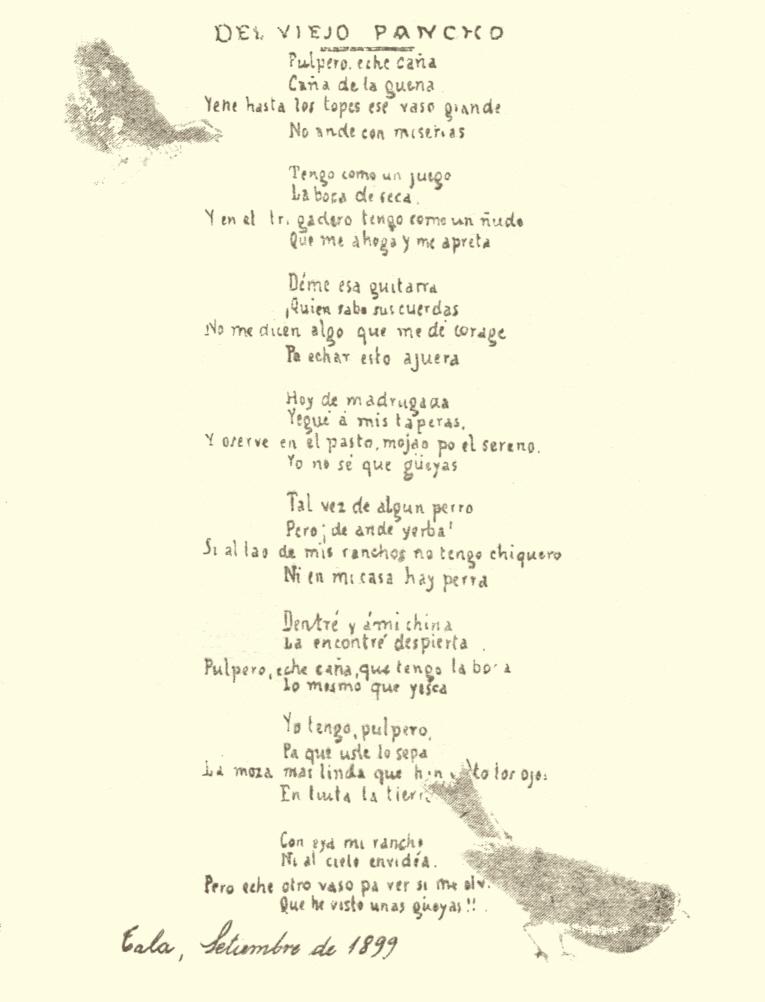 """Manuscrito original de """"La Güeya""""."""