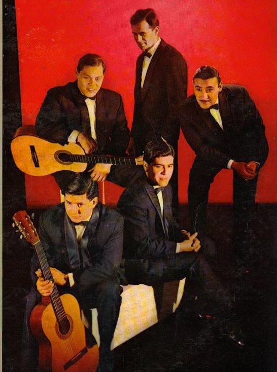 """Los Trovadores, tapa del álbum de 1966. Arriba de izq. a der.: Sergio Ferrer, ''Eduardo Gómez'', Francisco """"Pancho"""" Romero"""