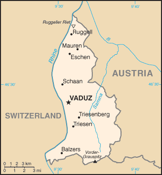 Map of the Principality of Liechtenstein