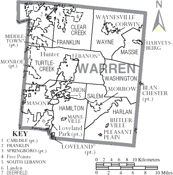 File Map Of Warren County Ohio With Municipal And Township Labels