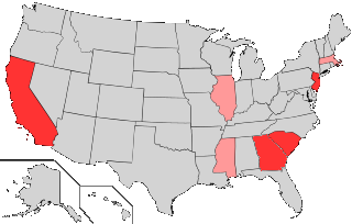 US States Represented By African American Senators Currently or Formerly Map of states currently or formerly represented by African American senators.png