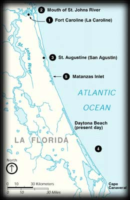 Map of the northeast coast of present-day Florida showing the locations of Fort Caroline and Matanzas Inlet
