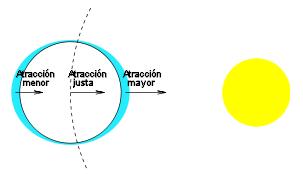 La fuercia d'atraición acomuñada a la órbita y al periodu solamente exerzse sobre puntos asitiaos a la mesma alloña que'l centru de mases. Les zones más alloñaes tán menos atraíes y les más cercanes tar más.