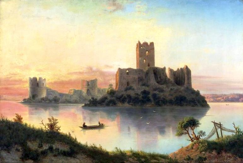 Ruiny zamku w Trokach o zachodzie słońca