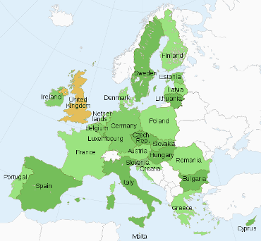 Member States of the European Union, with UK on holding