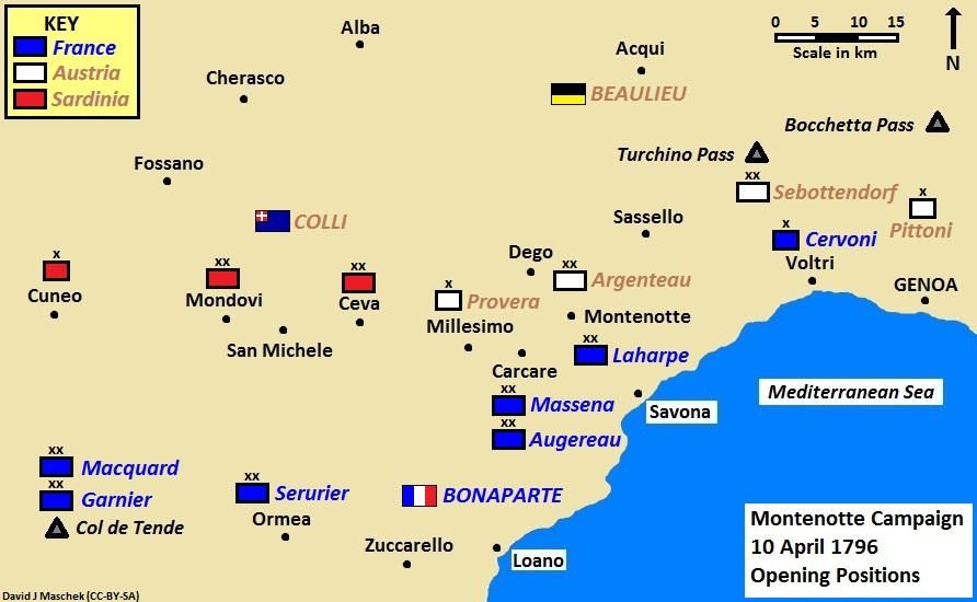 Situation map of the Montenotte Campaign, 10 April 1796 Montenotte Campaign 10 April 1796.jpg
