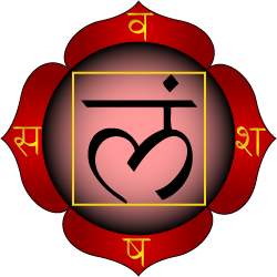 A red four-petaled lotus four petals bearing the Sanskrit letters va, scha, sha and sa. The letter lam is surrounded by a yellow square in the center.