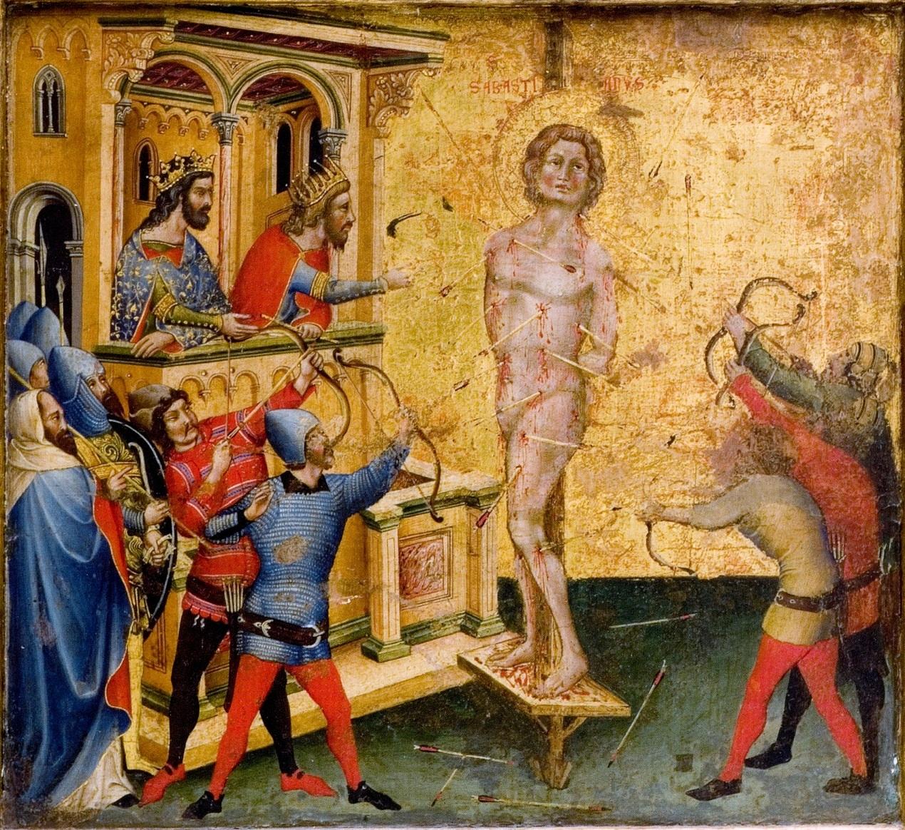 https://upload.wikimedia.org/wikipedia/commons/6/63/Niccolo_Semitecolo._Sebastiano_trafitto_dalle_frecce._1367._53x60cm._Padova%2C_Museo_Diocesano.jpg