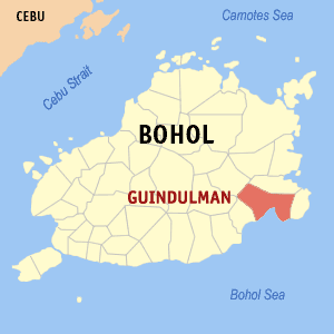 Map of Bohol showing the location of Guindulman
