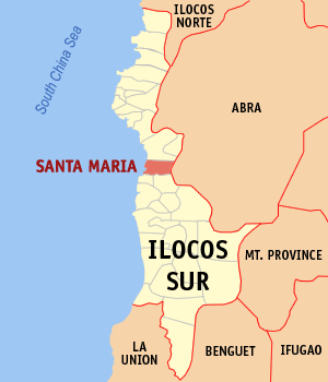 Mapa na Ilocos ed Abalaten ya nanengneng so location na Santa Maria