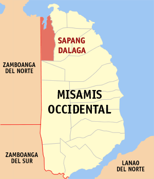 Map of Misamis Occidental showing the location of Sapang Dalaga