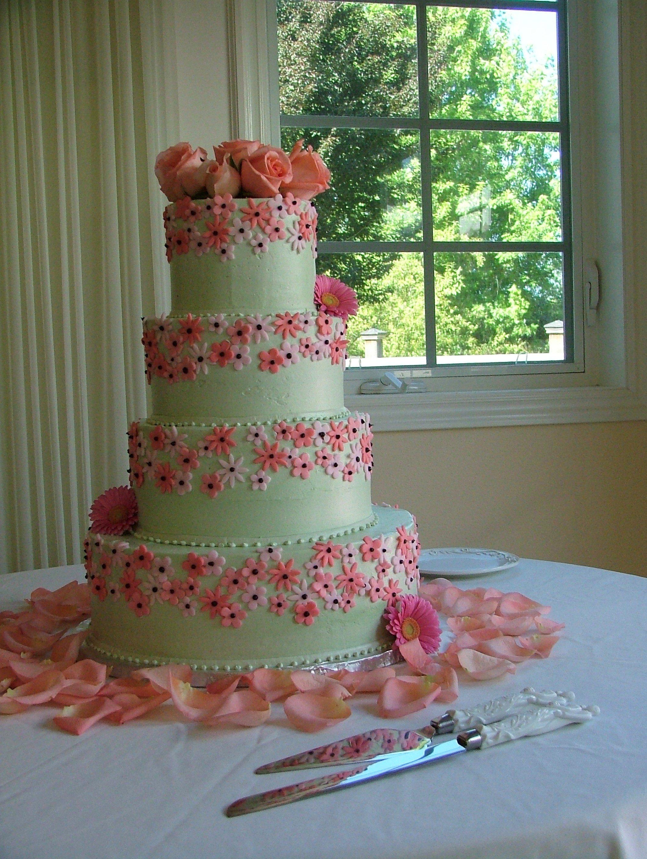... Pink_decorated_wedding_cake_tiered Mesmerizing Wedding Cake Decorations  Flowers 2 Pics Inspirations Decoration Ideas