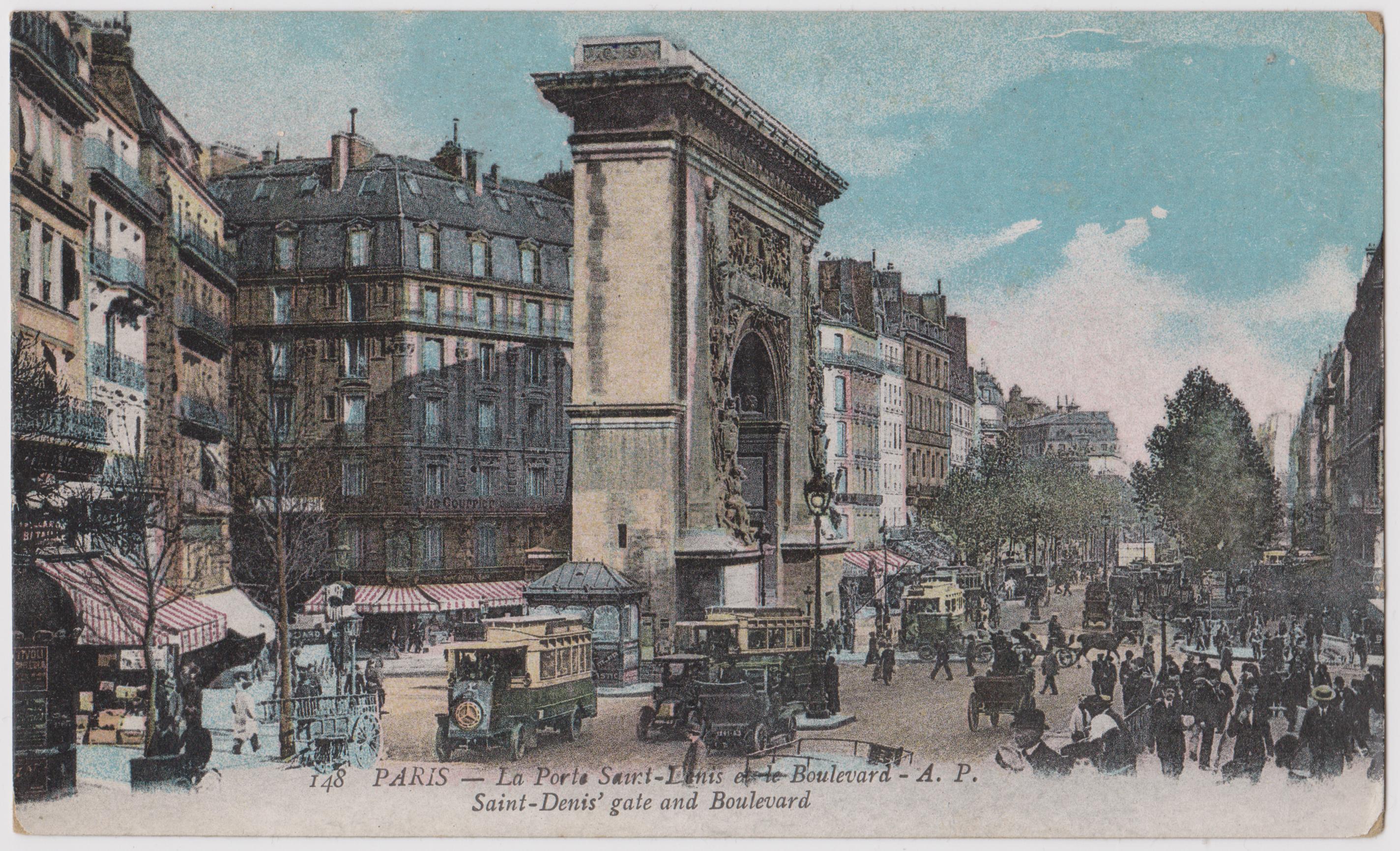 File:Porte Saint Denis, Paris, Vintage Postcard