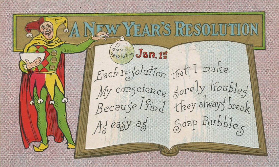 English: New Year's Day postcard mailed in 190...