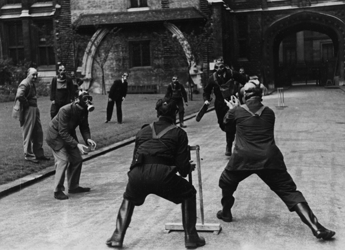 File:Public Record Office staff play cricket outside Chancery Lane offices in London during the Blitz.jpg