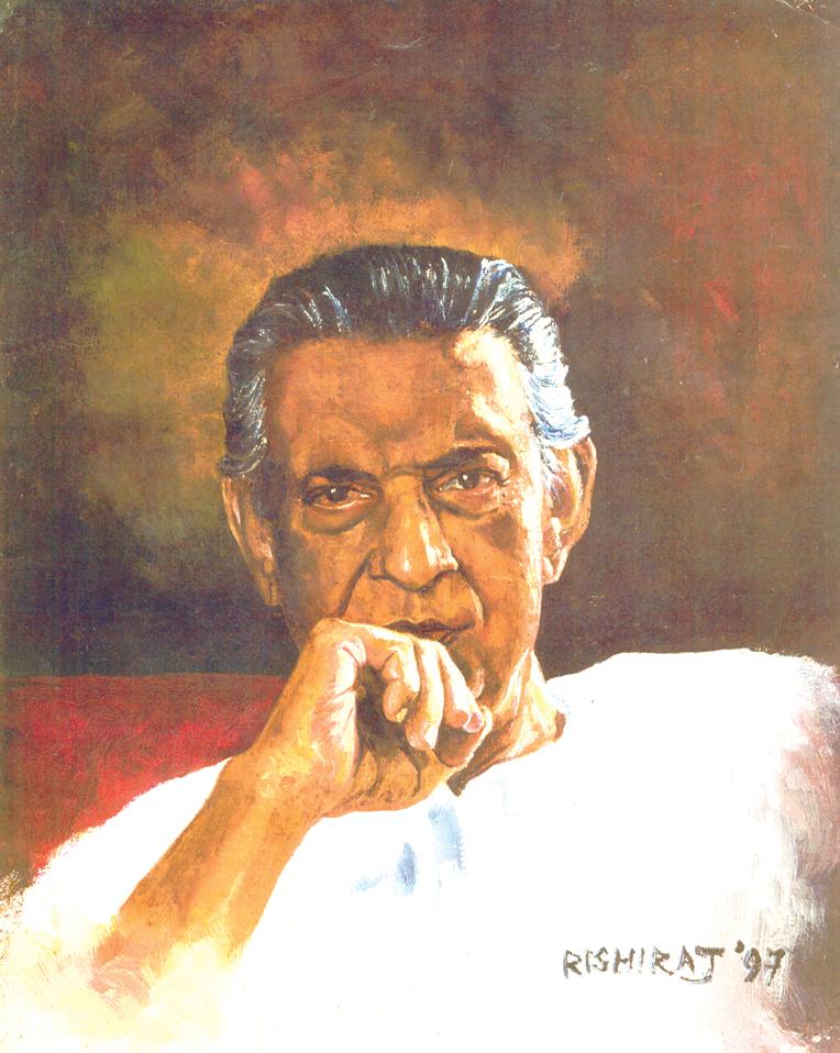 Portrait de Satyajit Ray.